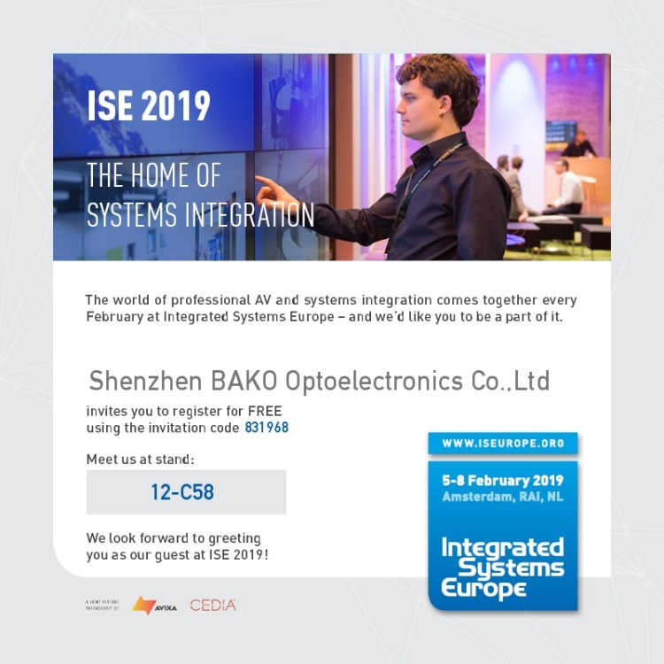 Warmly welcome you to visit 2019 ISE Bako booth
